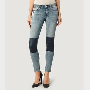 All Saints leather patch jeans